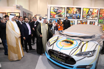 Tesla-Art-Car-Unveiled-at-World-Art-Dubai